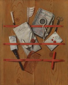 Edwaert Collier ,A trompe l'oeil still life of documents and objects stuck behind ribbons upon wooden boards