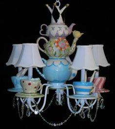 tea cup chandelier, alice in wonderland theme
