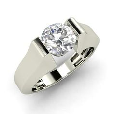 Marcel Ring with Round SI Diamond | 1.0 carat Round SI Diamond  Solitaire Ring in 14k White Gold | Diamondere