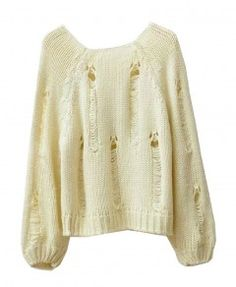Retro Style Pure Color puff sleeves Ripped Sweater