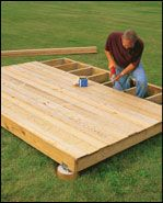 This will work for our sun deck in the backyard. Steps to build a ground-level deck at The Home Depot Backyard Projects, Outdoor Projects, Home Projects, Ground Level Deck, How To Level Ground, Floating Deck, Building A Deck, Outdoor Living, Outdoor Decor