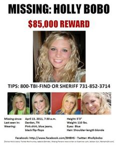 Sadly, Holly's remains were discovered on Sept, 9th, 2014. An investigation is ongoing to catch her murderer. R.I.P. Holly