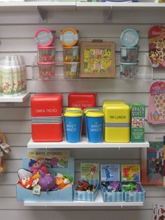 You can mix up your presentation on slatwall by using shelves, hooks, and acrylic accessories. Bookstore Design, Bath Sponges, Book Cafe, Slat Wall, Pharmacy, Hooks, Presentation, Shelves, Canning