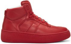 Maison Margiela - Red Chunky Sole High-Top Sneakers