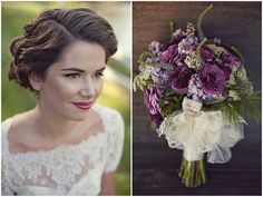 beautiful make up + vintage wedding dress + vintage hair + gorgeous bouquet = oh so lovely!