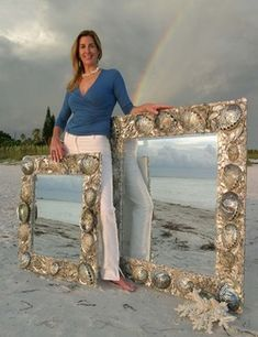 Two Abalone shell mirrors and me. ;-)  www.elegantshells.net