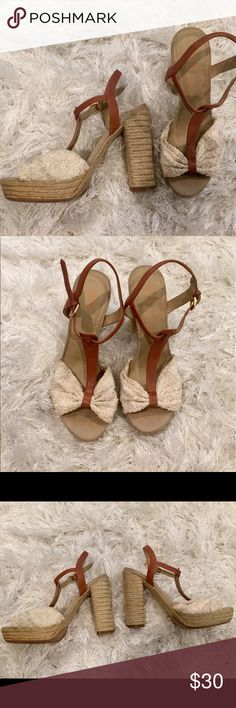CLOSET CLEAR OUT SALE⚡️ Nude lace and chestnut leather heels with the look and feel of wedges! The platform on these shoes makes them incredibly easy to walk in. Super cute for a casual night or dressed up for a night out. Gently used condition - purchased from DSW Levity Shoes Heels