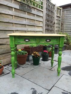 Rustic solid pine table Antibes Green Annie Sloane clear and dark wax, stripped pine top - refurbished by Ellie Pea Furniture