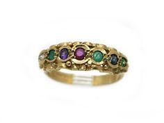 Dearest Ring c 1830 Diamond Emerald Amethyst Ruby Emerald Sapphire and Topaz ...loving this