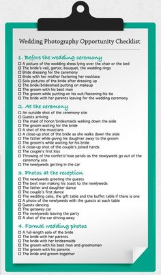 Wedding photography checklist by lovelydesigns