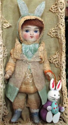 """Lovely 4 1/2"""" All Bisque Antique (glass eyes) Bunny Doll in Easter Box  