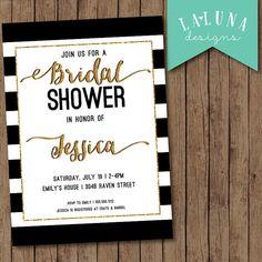 Bridal Shower Invitation, Black & White Stripe Bridal Shower Invite, Gold Glitter Bridal Shower, Stripes Invitation