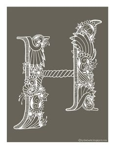Free printable letter H - henna alphabet. Also available in pink and black & white. See bottom of post for links to other letters.