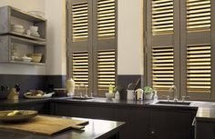 Absorbing Modern Shutters For Windows Treatment. Incredible Modern Shutters For Windows Design With Painted Wooden Shutters Plantation In Dark Grey Color And Golden Trim Unify With Rustic Kitchen Design Concept Ideas Kitchen Design, Prehung Interior Doors, Window Design, Blinds, Wood Doors Interior, Modern Shutters, Rustic Kitchen Design, Interior And Exterior Angles, Home Decor