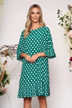 Reduceri rochii -70% - preturi reduse - Rochii Romania Cold Shoulder Dress, Cover Up, Dresses With Sleeves, Long Sleeve, Sweet, Floral, Fashion, Green, Gowns With Sleeves