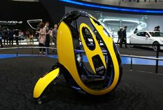 The egg-shaped electric Hyundai E4U personal mobility vehicle was put on display at the Seoul Motor Show.