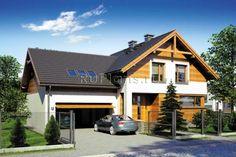 Dom z poddaszem użytkowym i garażem. Style At Home, Merlin Home, Atrium, Modern House Design, Home Fashion, My House, Sweet Home, Shed, Villa