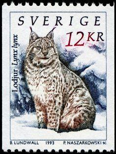 Sweden snow cat stamp.