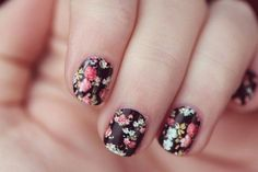 channeling grunge with floral wallpaper nails