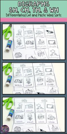 Cut and paste spelling printables require first grade and 2nd grade students to spell and sort words beginning and ending with ch, sh, th, and wh digraphs. Three levels of sorts are included for each of the following spelling patterns: sh and ch, sh and th, ch and th, wh and sh, wh and th, wh and ch, mixed practice (wh, sh, th, and ch). These printable worksheets make differentiating word work easy and I love that they provide hands-on practice!