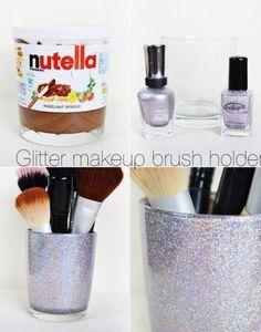 Diy pot de Nutella en pot a pinceaux homemade avec du vernis a ongle