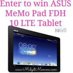 Enter to win an ASUS MeMo Pad FDH 10 LTE Tablet