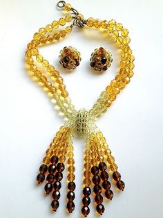 OMBRE GLASS COPPOLA E TOPPO SET made in italy DEMI PARURE NECKLACE & EARRINGS  universalgems1111    $305.00