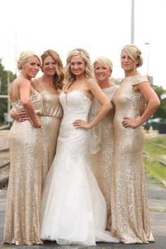 472c2cef6b379 Sorella Vita Gold Metallic Bridesmaid and David Tutera Gown. Looked  gorgeous together!