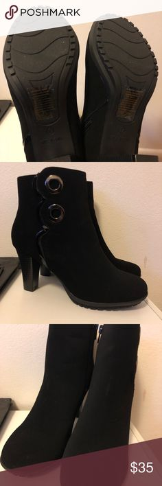 """Avon cushion walk black booties size 7 Worn once. These are SUPER comfortable booties. The only flaw is the little """"whitish"""" mark suede booties get soemtimes but its honestly not noticeable & can be fixed if you know how to do that! Size 7! No box . Shoes Sneakers"""