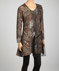 Take a look at this Brown & Tan Lace Leopard Linen-Blend Tunic by Pretty Angel on #zulily today! $30 !!