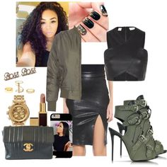 military bss ch!ck by miss-teezy on Polyvore featuring polyvore, fashion, style, sass & bide, Influence, Frame Denim, Giuseppe Zanotti, Chanel, Nixon and Charlotte Russe