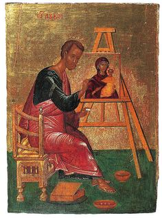 "Luke, who loved Our Lady, pray that all come to find her as a path to Our Savior. ""This is probably the first time this rarely painted theme appeared on an icon. Byzantine Icons, Byzantine Art, Religious Icons, Religious Art, Fresco, Madonna, Luke The Evangelist, Catholic Saints, Orthodox Icons"
