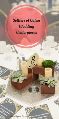 Settlers of Catan board game wedding centerpiece