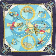 HERMES SCARF Silk Circus by Annie Faivre 90cm Carre 100% par EXANYC