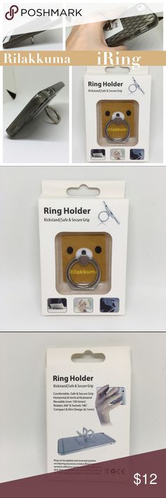 iRing Rilakkuma iRing are phone accessories it can be used to replace an actual phone case or you can use it on top of the phone case. It has adhesive that you can simply apply (stick) to the back of your phone or phone case and acts as a dual kickstand and a ring grip. Compatible with any phones, not just i products. Questions welcomed. Sanrio Accessories Phone Cases