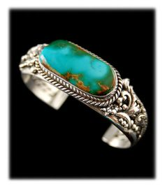 Blue Green Turquoise Bracelet - Featured in Cowboys and Indians Magazine this Blue Green Royston Turquoise Bracelet is a star