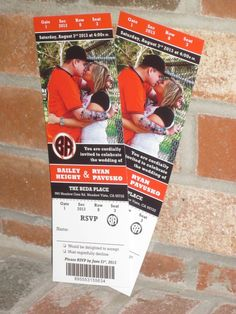 Baseball Wedding Ticket Invitation created by SportsThemedWeddings.com