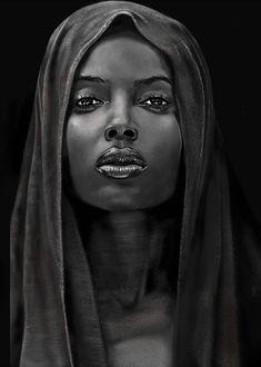 Black And White Face, Black And White Painting, Black Girl Art, Black Women Art, Low Key Portraits, Girl Face Drawing, Posca Art, Coloured Girls, Black Artwork