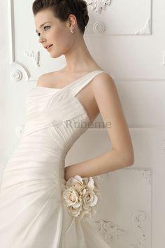 Robe de mariée elégant fourreaux plissés avec sans manches de sirène milieu