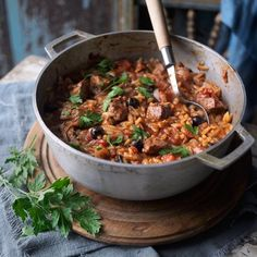 Lamb and orzo pasta stew - great freeze ahead meals from the GH team. Lamb Recipes, Greek Recipes, Pasta Recipes, Dinner Recipes, Cooker Recipes, Savoury Recipes, Healthy Recipes, Turkish Recipes, Dinner Dishes