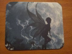 Fairy Mouse Pad - Black & White Moon Fairy with FREE shipping!  $10