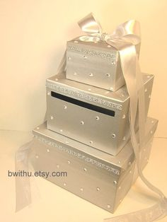 wedding card box silver and white gift card box money box holder customize your color