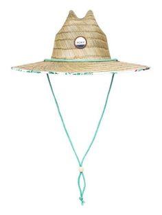 34228ce8c3b82 Roxy Juniors Tomboy Printed Straw Chin Strap Hat One Size Green multi