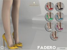 Madlen Fadero Shoes  New high heels with bow details. Come in 8...      Madlen Fadero Shoes    New high heels with bow details. Come in 8 colours (patent leather texture). Joints are perfectly assigned. All LODs are replaced with new ones.  You cannot change the mesh, but feel free to recolour it as long as you add original link in the description.  If you can't see this creation in CAS, please update your game. If you're experiencing thumbnail problem, update your game (latest patch..