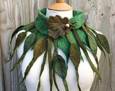 Custom made to order- Leaf cowl- scarf-Woodland Felted Cowl - woodelf-nature inspired - felted scarf- woodland scarf- festival -fairy