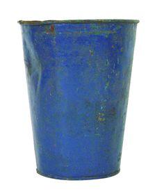 Old fashioned blue sap bucket