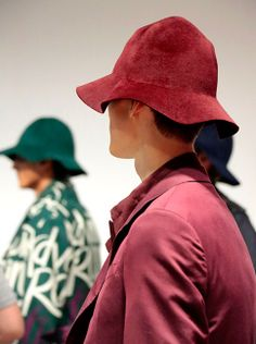 The campaign hat backstage at the Burberry S/S15 show on Tuesday