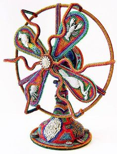 Fan  by Tom and Kathy Wegman - Bead mosaic (glass seed beads and accent beads glued to form)