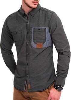 MAKI Herren Freizeithemd Slim Fit Hemd Langarm Polo T-Shirt Casual Shirt Gestreift Schwarz XXL