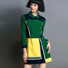 2014 New Autumn Fashion Womens Hit Color Doll Collar Geometry Printed Long Sleeved A-line Dress
